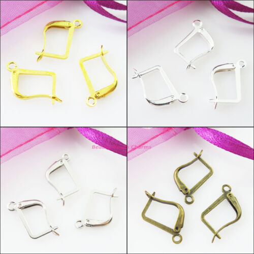 24 New Gold Dull Silver Bronze Plated Square French Earring Hooks 12x20mm