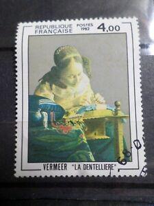 FRANCE 1982, timbre 2231, TABLEAU VERMEER, DENTELLIERE oblitéré, VF STAMP EX B