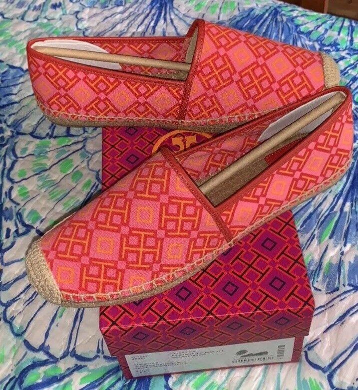 preferenziale NIB Tory Burch rosso Volcano Honeysuckle Printed Printed Printed Espadrilles Flats scarpe 9.5 Auth  vendita calda