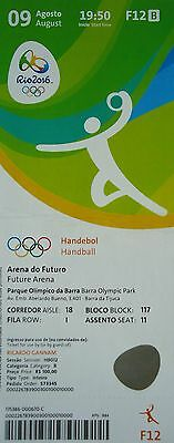 Ticket Olympic Games Rio 9/8/2016 # Handball Men's Egypt Vs Sweden # F12 Good Reputation Over The World Olympic Memorabilia