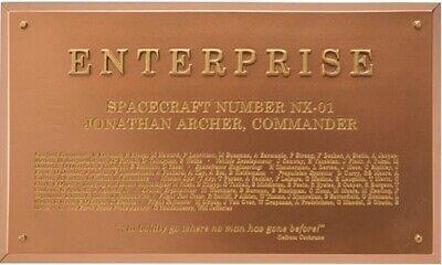 Star Trek Enterprise NX-01 Dedication Plaque by Eaglemoss