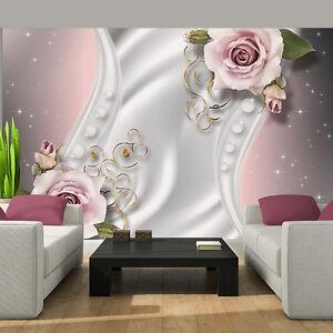vlies tapete fototapete tapeten kunst rose blumen magie modern perle 14n3282ve ebay. Black Bedroom Furniture Sets. Home Design Ideas