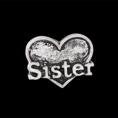 "ANDANTE Silber FLOATING CHARM Medaillon /""Sister/"" Herz Schwester Familie #4915"