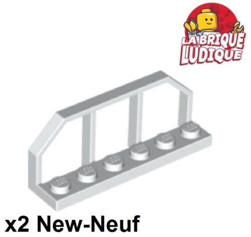 Lego x2 Plate Modified 1x6 barrière Train Wagon End blanc//white 6583 NEUF