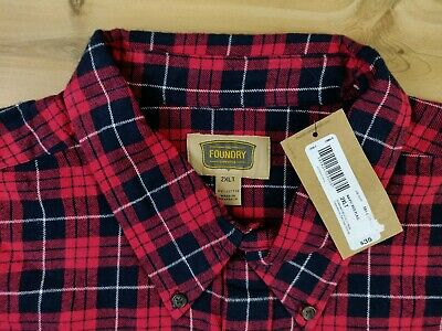 FOUNDRY Young Mens big/&tall red plaid flannel button shirt long sleeve New