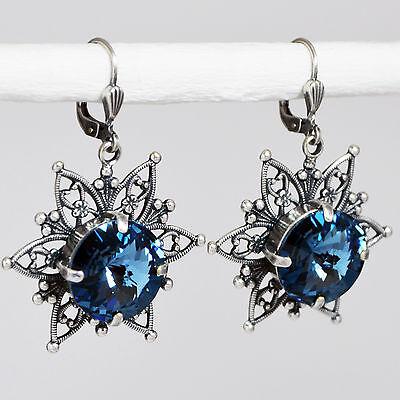 Grevenkämper Ohrringe Swarovski Kristall Rund Verzierung Vintage blau Denim Blue