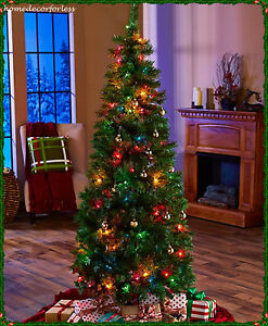 6 FT PRE-LIT POP-UP PULL-UP MULTI-COLOR CHRISTMAS TREE W/ BASE ...