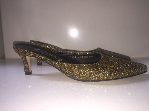 Glitter Gina 6 5 Heels Size Gold Mule Bronze Slippers Kitten Shoes Sparkle FqUwq51