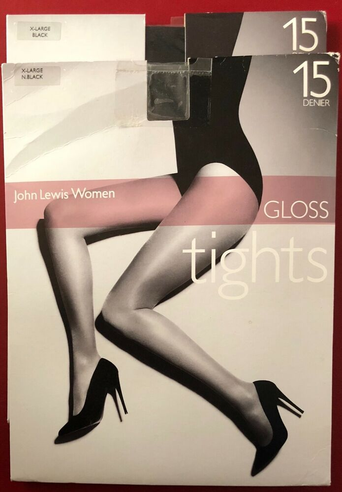 2 Paires John Lewis Brillant 15 Deniers Collants Collants Noir Extra Large