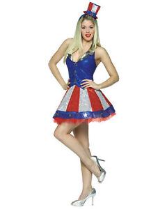 Aunt Samantha Uncle Sam Patriotic Girl USA Fancy Dress Halloween ...