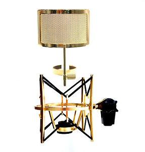 mxl usm 001 g gold plated heavy duty basket shock mount with pf005 g pop filter 611720430574 ebay. Black Bedroom Furniture Sets. Home Design Ideas