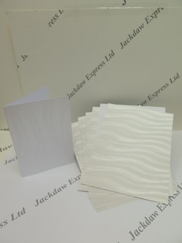 20 x A6 Pearl Pearlescent Shimmer Wave Single Fold Cards 220gsm Envelopes