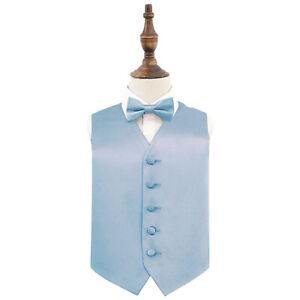 Dusty-Blue-Boys-Waistcoat-Bow-Tie-Set-Satin-Plain-Solid-Wedding-Vest-by-DQT