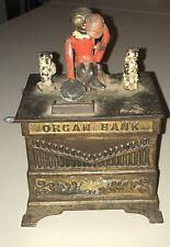 1800s Original ORGAN BANK CAST-IRON MECHANICAL BANK Great Paint Collectors Estat