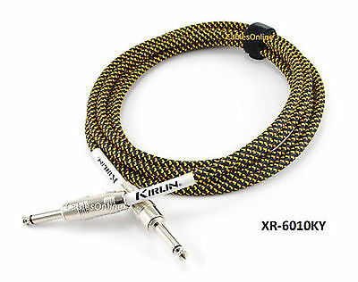 """10ft Kirlin 1/4"""" Mono Male to Male BK/YL Woven Guitar/Bass Amp Pro Audio Cable"""
