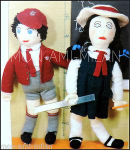 639c80df70e Vintage Knitting Pattern • BOY   GIRL RAG DOLLS in SCHOOL UNIFORM ...