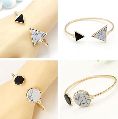 Golden Circle/Triangle Bracelet Open Bangle Women Cuff Marble Stone Jewelry