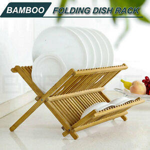 Bamboo-Foldable-Portable-Drying-Dish-Rack-Drainer-Plate-Bowl-Holder-Storage-M
