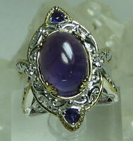 Shopnbc Amethyst Cabochon W/trillion Accents White Sapphire 925 18k Gp Ring Sz 7