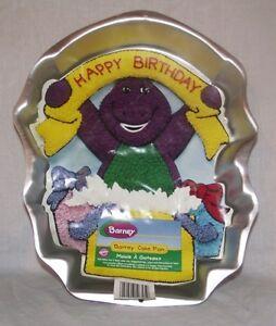 Wilton-Barney-Dinosaur-Birthday-Cake-Pan-w-Instructions-2105-3450-Jello-Mold-Tin