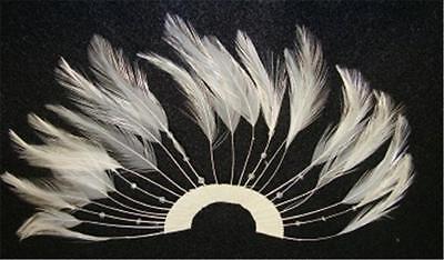 1 BRIGHT SNOW WHITE 1/2 CIRCLE PINWHEEL BEADED FEATHERS