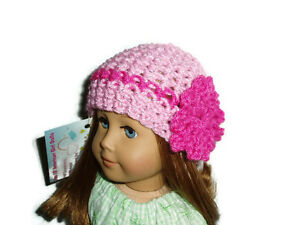 Sparkly-Pink-Crochet-Beanie-Hat-18-034-Doll-Clothes-Fits-American-Girl-Dolls