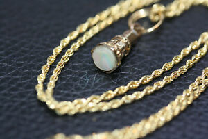 Antique-Victorian-9K-Gold-MOP-Pendant-10K-Solid-Yellow-Gold-Choker-Necklace-18-034