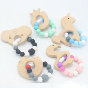 Infant-Unicorn-Teether-Bracelets-Silicone-Dount-Wood-Beads-Teething-Toy-BPA-Free