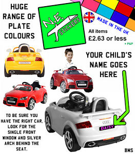 Personalised Kids Number Plate For KID MOTORZ V Audi TT RS Rideon - Audi 6v ride toy cars