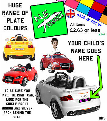 Personalised Number Plate(s) to fit kids Audi TT RS 12V electric ride on toy car | eBay