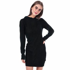 Womens-Brave-Soul-Knitted-Hoody-Jumper-Dress-in-black