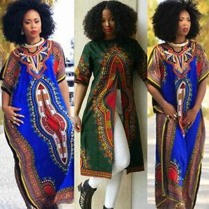 Fashion Women's African Print Dashiki Dress Cultural Ethnic Evening Party Dress