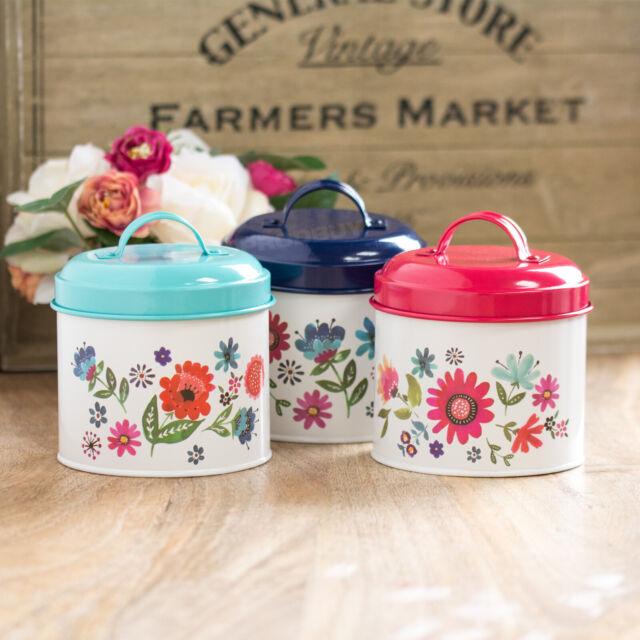 700ml Cream Vintage Retro Floral Tea Coffee Sugar Canisters Storage Jars Set