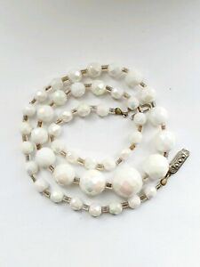 Vintage 1950s Sparkly Aurora Borealis White Strand Glass Necklace