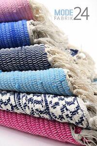 Teppich Laufer Flicken Fleckerlteppich Handweb Fransen Blau Grau