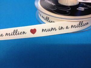 2 Mètres Maman Dans Un Million De Ruban Mère's Jour Carte Making Craft Embellissement-afficher Le Titre D'origine DéLicieux Dans Le GoûT