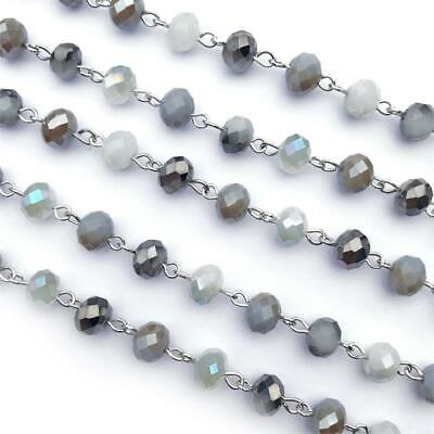 Green Brown Opal Crystal Glass Beaded Rosary Antique Silver Eyepin Chain 8mm 2ft