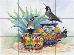 Ceramic-Tile-Mural-Backsplash-Libby-Southwest-Quail-Bird-Agave-Art-SLA012