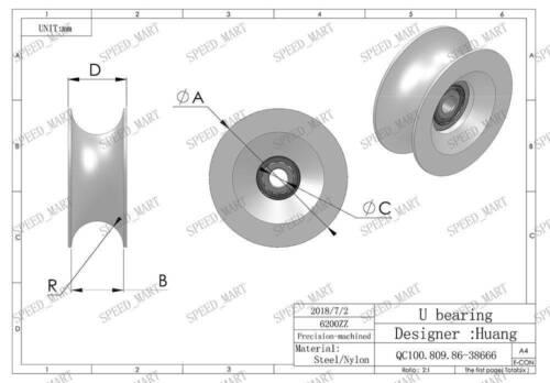 2pcs U Nylon Plastique Embedded 6200 Groove Ball Bearings 10*56*27mm Guide Poulie
