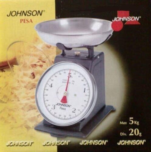 BILANCIA DA CUCINA JOHNSON 5 KG IN METALLO CON PIATTO SEPARATO 20 G DIVISIONE