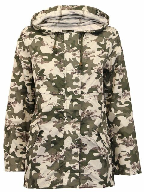 Neu Damen Tarnung Mac Regenmantel Auftauchen Hülse Parka Hooded Jacke 36-52