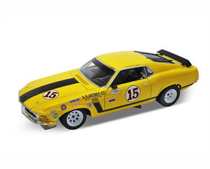 WELLY-1-18-1970-FORD-MUSTANG-BOSS-302-JAUNE-ART-12527WB-12527