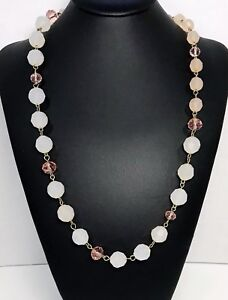 Vintage-Pink-White-And-Gold-Bead-Necklace-Opaque-And-Clear-Facetted-Beads