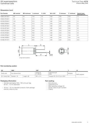 Potencia 3 F 2.7 V supercapacitor PowerStor HV0820-2R7305-R Lote de trabajo de backup cantidad de múltiples