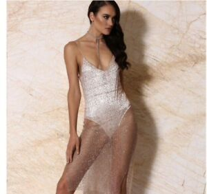 75fb28ba2f Meshki Boutique Rose Gold Glitter Mesh Bodycon Dress With Bodysuit ...