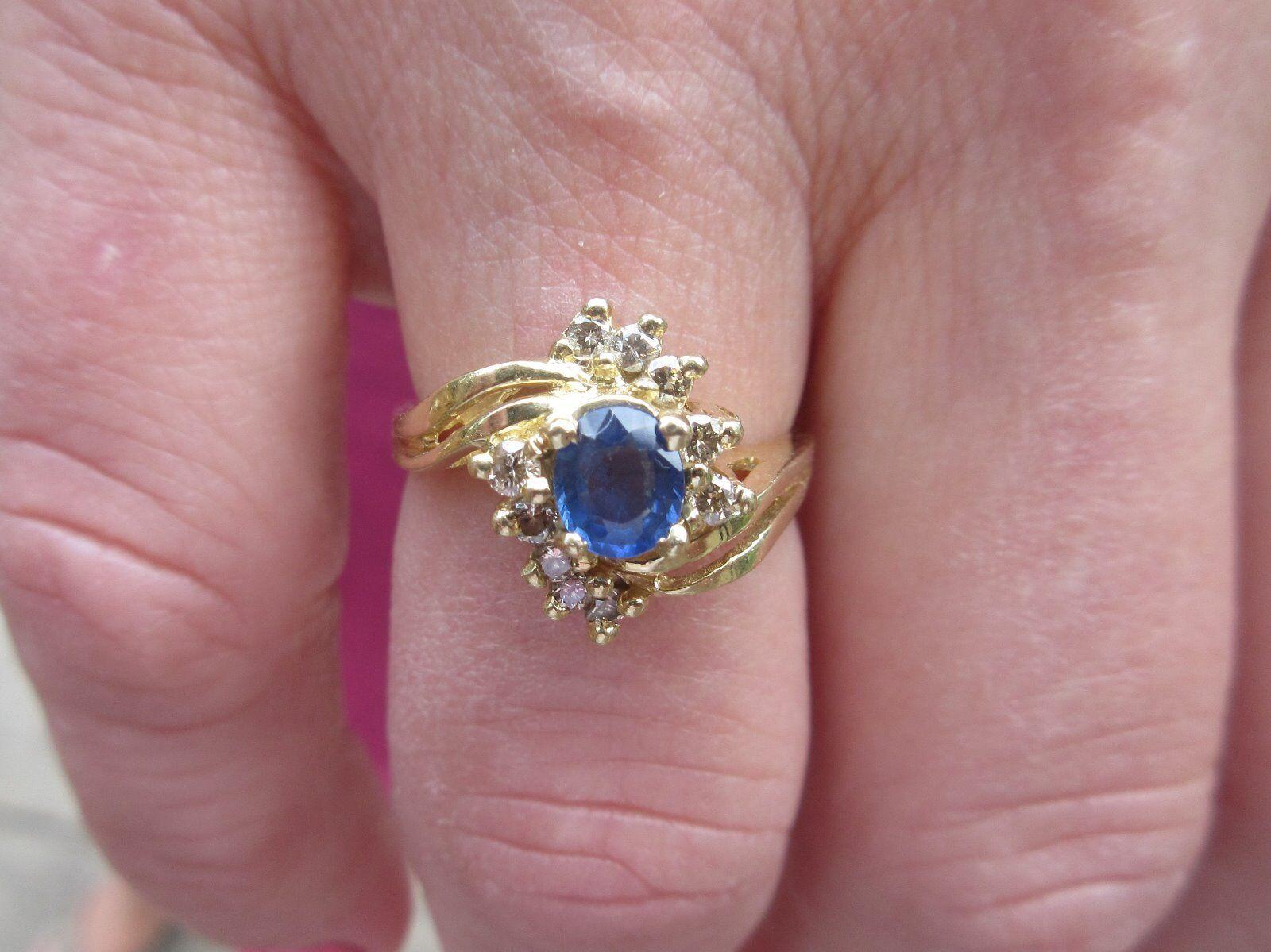 14 KT Sapphire and Diamond Ring - .65 Sapphire and .35 Diamond CTW