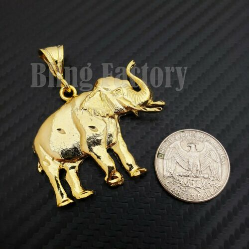 UNISEX HIP HOP 14K GOLD PLATED FASHION LUCKY ELEPHANT CHARM PENDANT