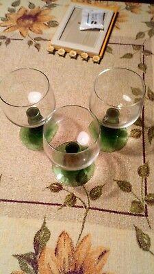 3 Weinrömer,grüner Stiel,sehr Alt