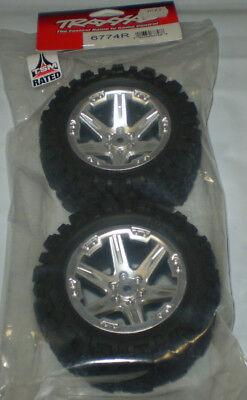 2 glued RXT Satin Chrome Wheels, Talon Extreme Tires, Foam Inserts 2WD Electric Rear TSM Rated Assembled Traxxas 6774R 6774R Tires /& Wheels 2.8