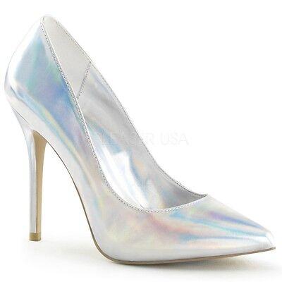 PleaserUSA High Heels Pumps Amuse-20 Silber holo